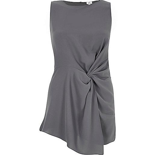 Dark grey twist front sleeveless top