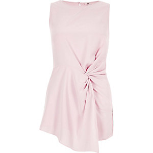 Light pink twist front sleeveless top