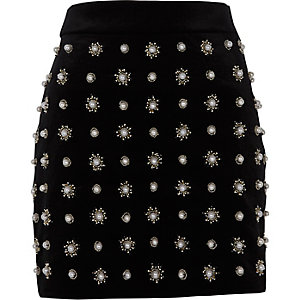 Black faux pearl embellished mini skirt