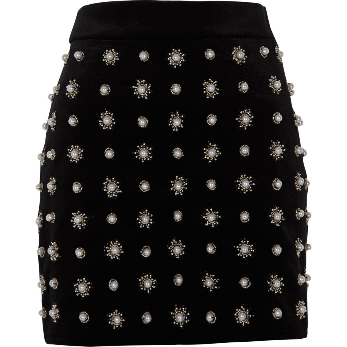 Black faux pearl embellished mini skirt