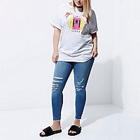 Plus white 'Paris' print boyfriend T-shirt