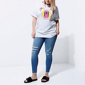 Plus – T-shirt boyfriend imprimé «Paris» blanc