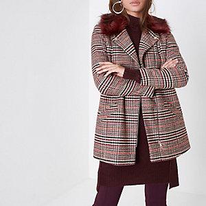 Manteau style motard à carreaux marron rétro à col en fausse fourrure