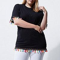 Plus black fluorescent tassel trim T-shirt