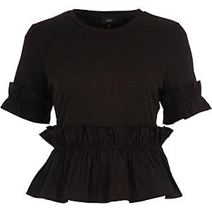Black poplin frill hem T-shirt
