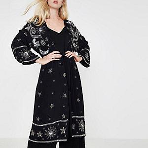 Black sequin embellished longline kimono
