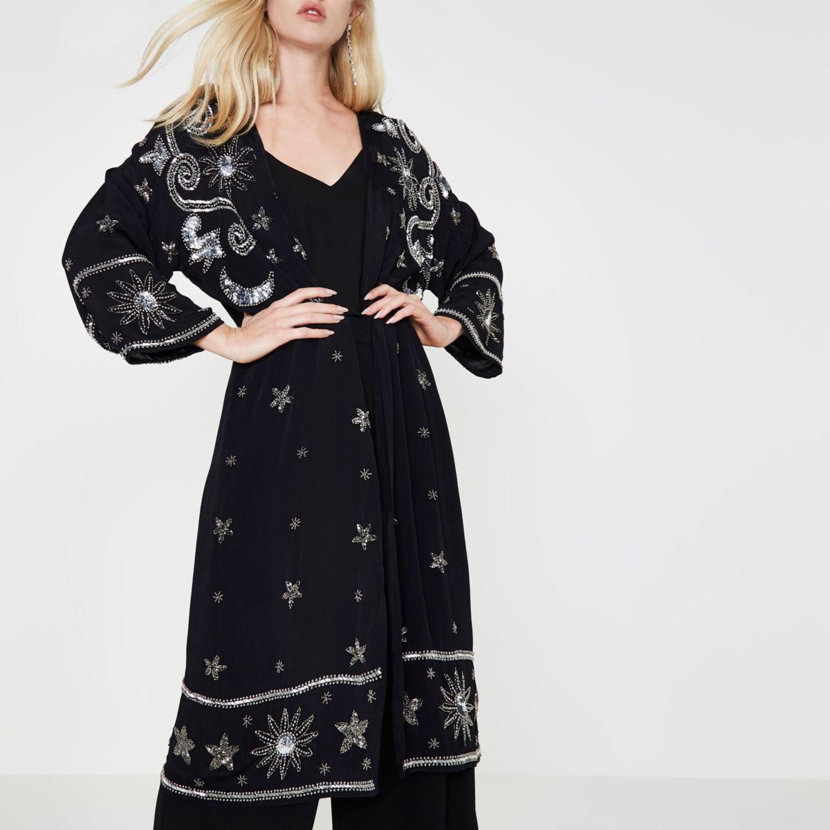 Kimono long noir orné de sequins