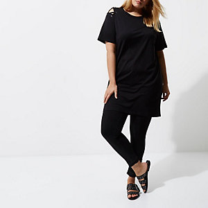Plus black eyelet shoulder oversized T-shirt