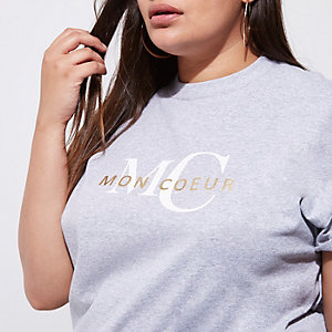 Grey 'mon coeur' print boyfriend fit T-shirt