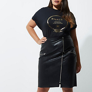 Plus black 'Paris' boyfriend fit T-shirt