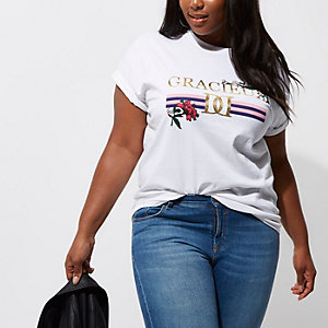 RI Plus - Wit boyfriend-fit T-shirt met 'gracieux'-print