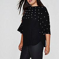 Plus black faux pearl embellished top