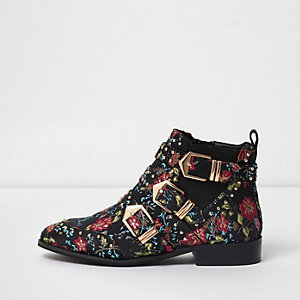 Black floral multi buckle ankle boots