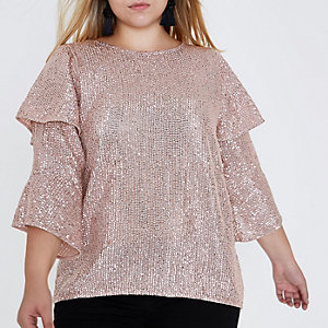 Plus light pink sequin frill sleeve top