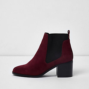 Dark red block heel ankle chelsea boots