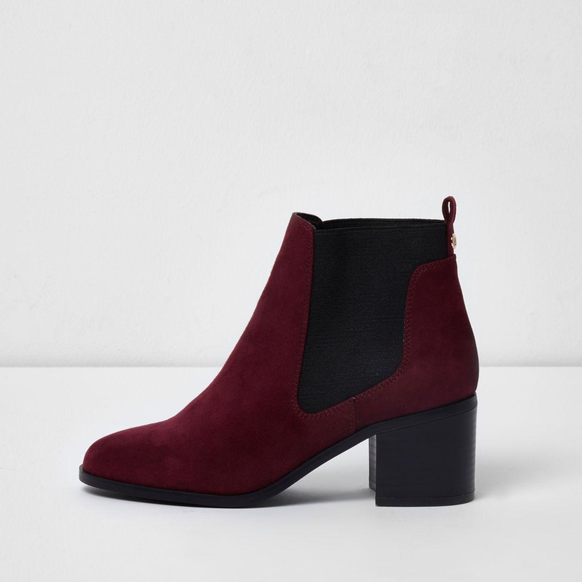 Dark red block heel ankle chelsea boots