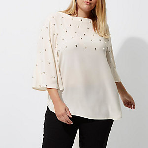 Plus cream stud faux pearl embellished top