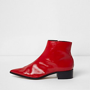 Red patent pointed ankle boots