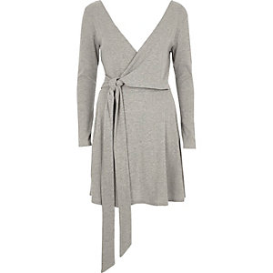Light grey rib wrap ballet mini dress