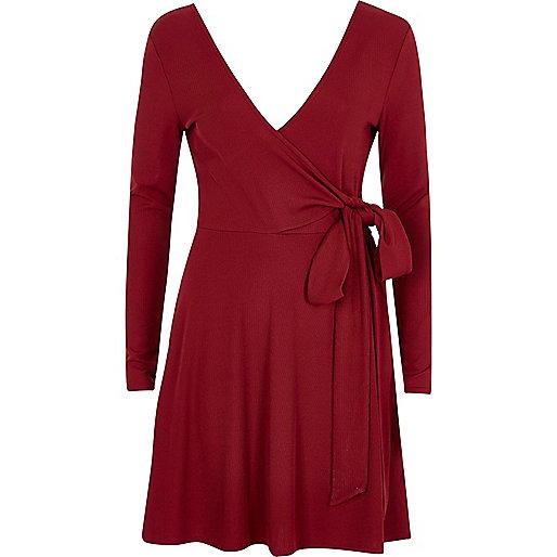 Dark red wrap ballet style dress