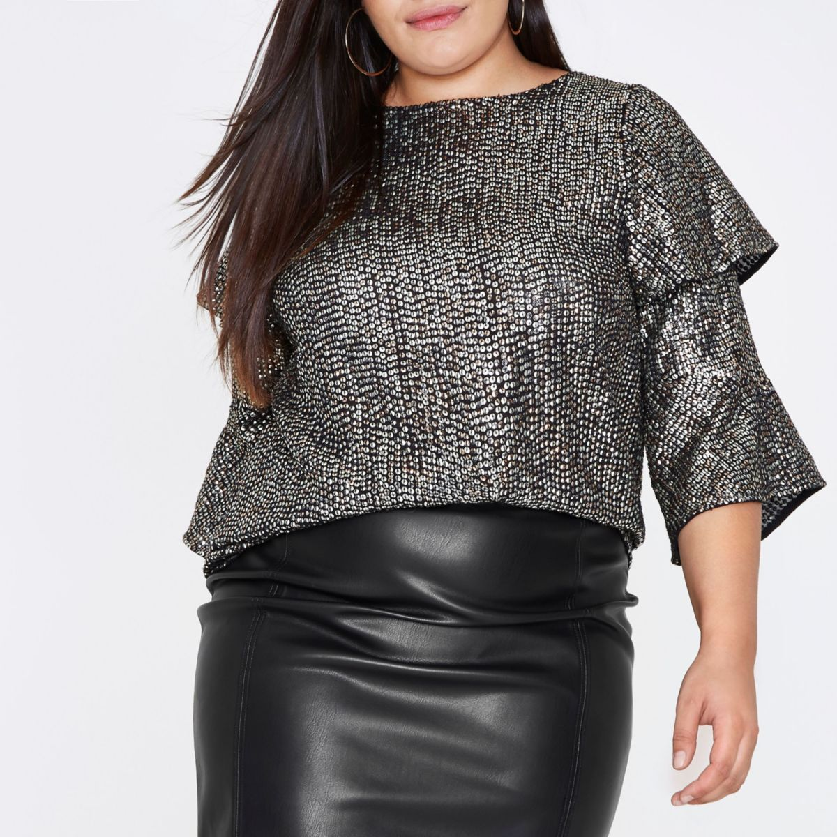 Plus black metallic sequin frill sleeve top