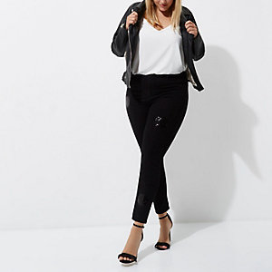 Plus black sequin embellished Molly jeggings