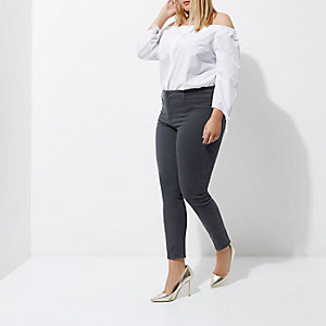 Plus – Molly – Skinny Jeggings in grauer Waschung