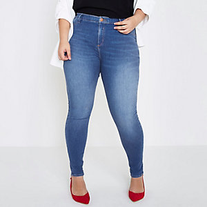 Plus bright blue wash Molly jeggings