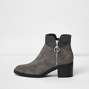 Grey side zip block heel ankle boots