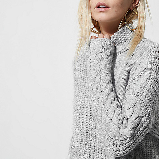 Petite grey high neck cable knit sweater