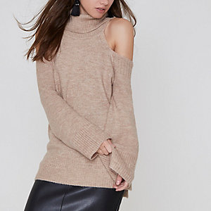 Petite beige roll neck cold shoulder jumper