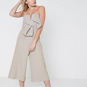 Petite grey bow bandeau culotte jumpsuit