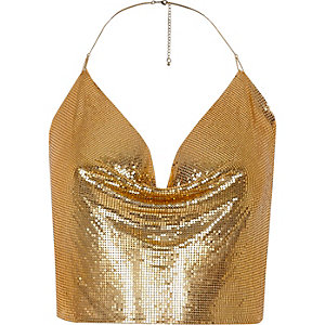 Gold tone chainmail halter neck top