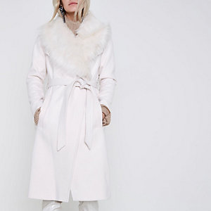 Petite cream faux fur collar robe belted coat