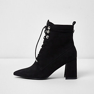 Black pointed toe lace-up boots