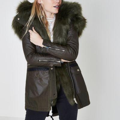 Green parka coat fur