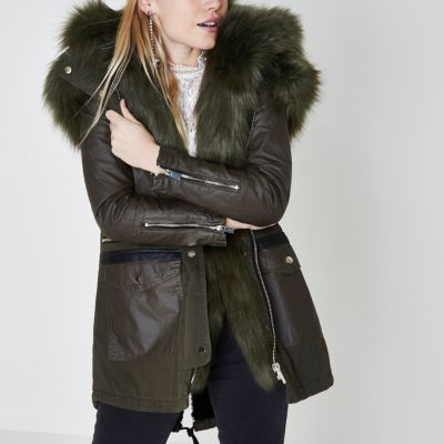 Womens green parka with fur hood river island