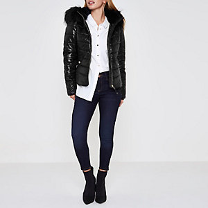 Petite black wet look hooded puffer jacket