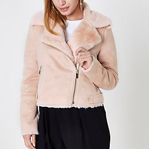 Petite light pink faux shearling biker jacket