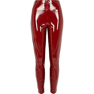 Pantalon skinny rouge ultra brillant en vinyle