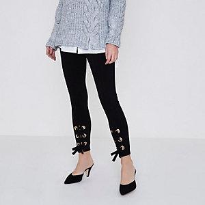 Petite black lace-up leggings