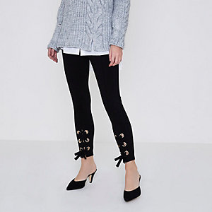 Petite black lace-up leggings