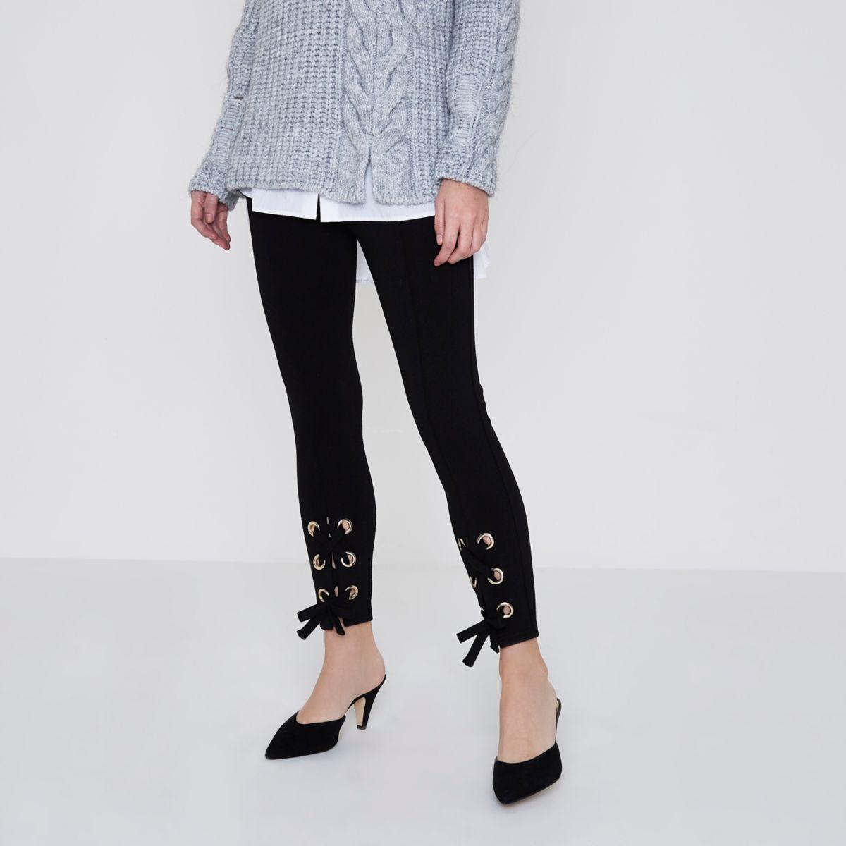 Legging à lacet noir Petite