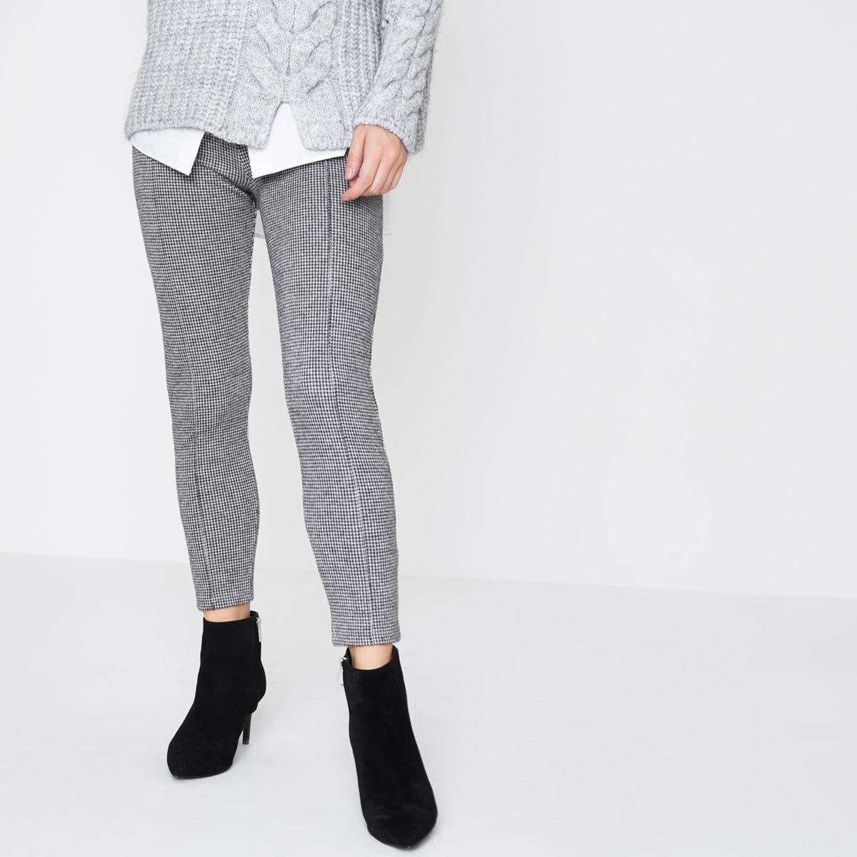 Petite grey herringbone check leggings