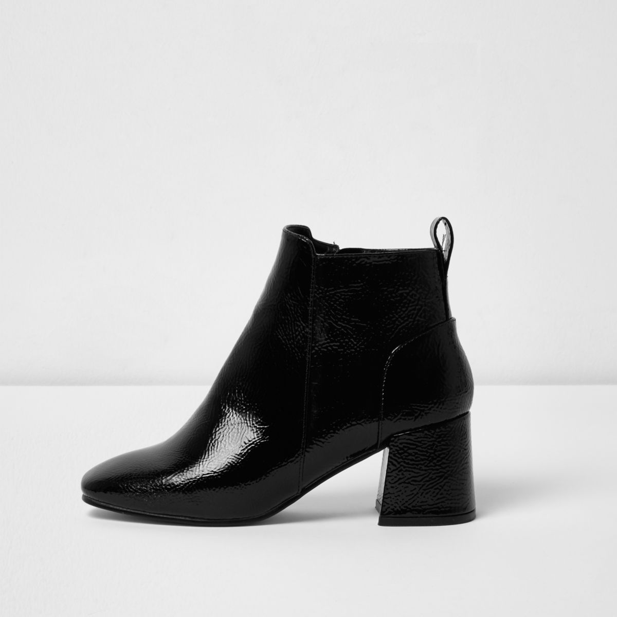 Black patent square toe block heel boots