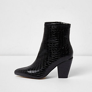 Black snake pointed cone heel boots