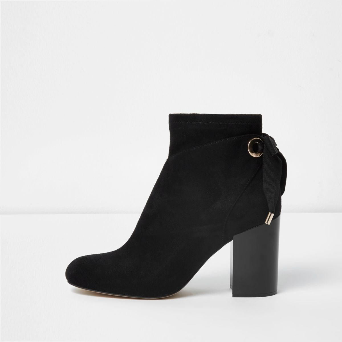 Black tie back block heel boots