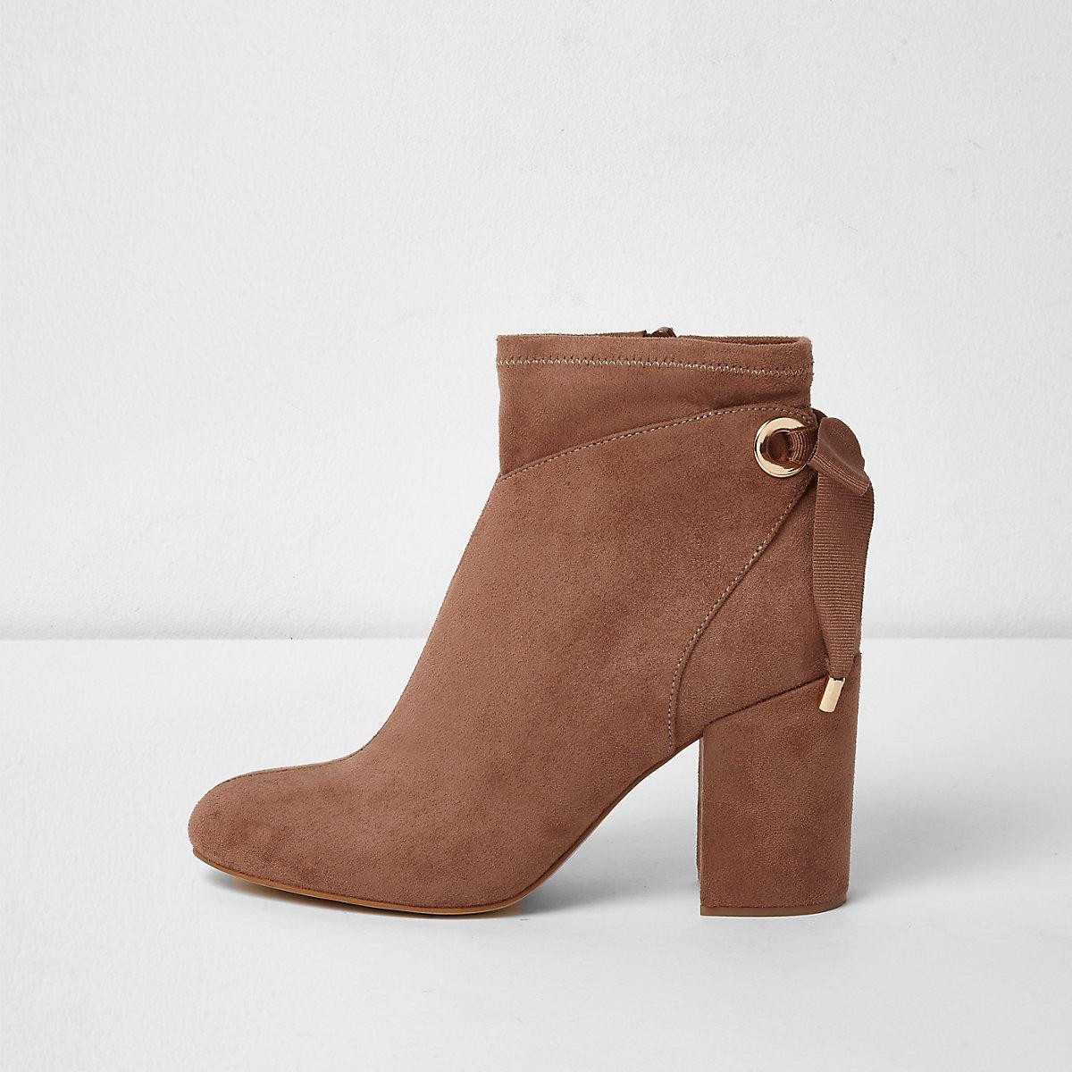 Pink tie back block heel ankle boots