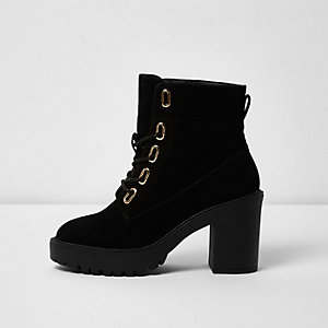 Black lace-up chunky ankle boots