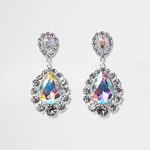 Silver tone iridescent jewel dangle earrings